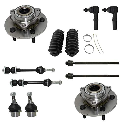 Detroit Axle - 12PC Front Wheel Bearing & Hub Assembly w/Lower Ball Joints, Sway Bars, Inner Outer Tie Rods w/Boots for 2002 2003 2004 2005 Dodge Ram 1500 -