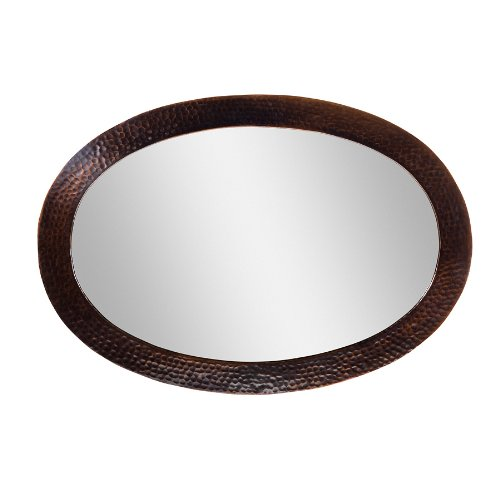 The Copper Factory CF137AN Solid Hammered Copper Framed Oval Mirror, Antique -