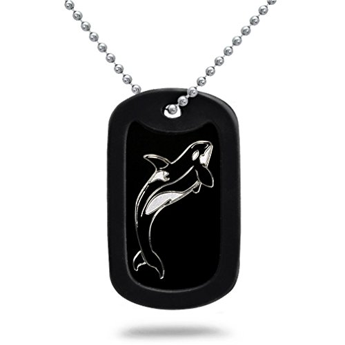 Orca Killer Whale Aluminum Dog Tag Necklace Made