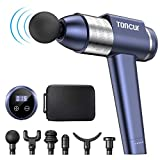 Massage Gun Deep Tissue Massager, Toncur Super Quiet 35dB 30 Speeds 105° Handle Professional Muscle Percussion Gun with 6 Massage Heads for Office, Home, Athletes, Gym, Post-Workout Pain Relief