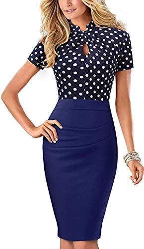 Merope J Womens Printed Ruffles Neck OL Pencil Wear to Work Office Career Dress (XXL, Polka Dot)