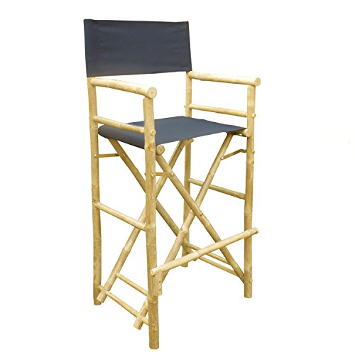 Zew Hand Crafted Tall Foldable Bamboo Director's Chair with Treated Comfortable Canvas, Set of 2 Bamboo Folding Chairs, Indigo - Dining Height Director Chair