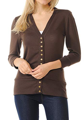 ClothingAve. Womens Snap Button 3/4 Sleeve Sweater Cardigan with Ribbed Detail Collection (S-3X) - Americano/Small