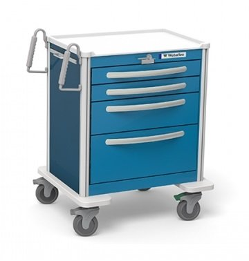 - MSEC by Waterloo, 4 Drawer Mini Lightweight Aluminum Crash Cart - Proximity Lock, Orange