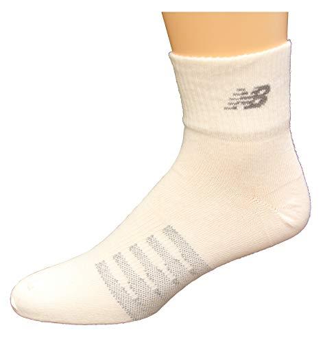 New Balance 2 Pack Coolmax Thin Quarter Socks, White, Medium