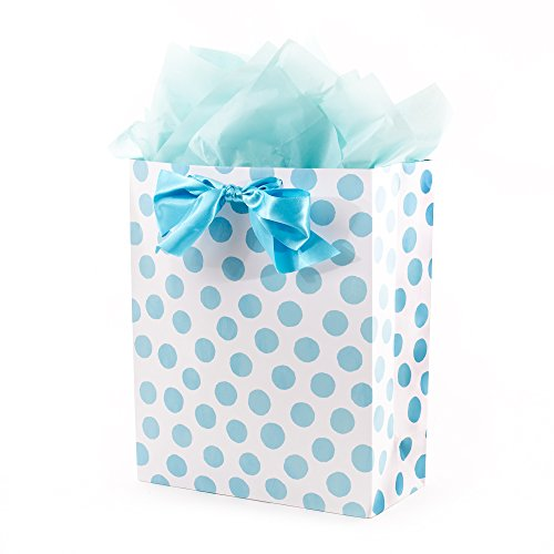Hallmark Extra Large Gift Bag with Tissue Paper (Blue Polka Dots and Bow)