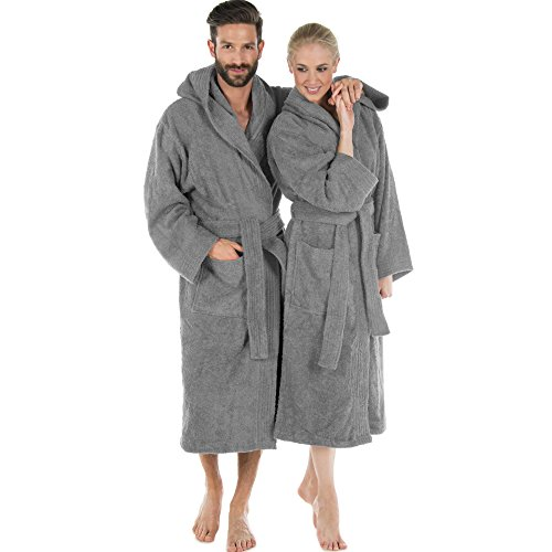 Bademantel für Damen & Herren   alle Größen und viele Farben   100% Baumwolle Uniwalk-Frottee mit Kapuze   CelinaTex Montana 0001231   Größe L dunkel grau