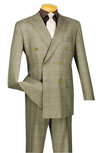 Vinci Wool Feel 6 Button Double Breated Glen Plaid Suit DRW-1-Tan-36S