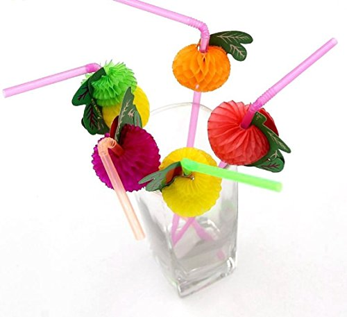 Assorted Fruit Straws - 50 or 100 Pieces For Birthdays,Luau, Hawaiian Theme (assorted straws 50 pcs)