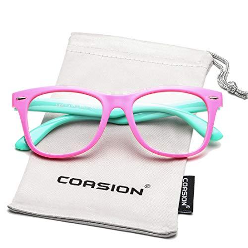 COASION Kids Clear Glasses for Little Girls Boys, Geek Fake Nerd Eyeglasses for Costume (Age 3-12) (Pink) (Girls Kids Fake For Eyeglasses)