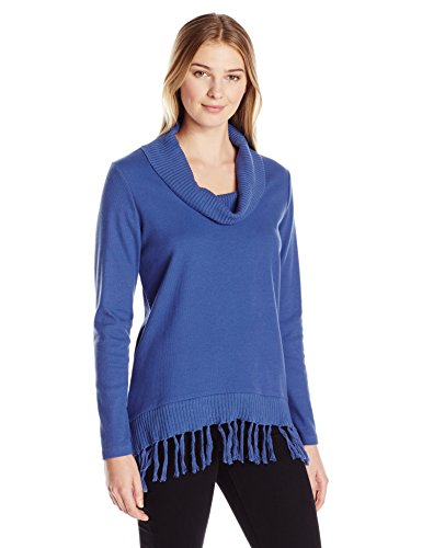 Rafaella Women's Misses Cowl Neck Knit with Fringe, Blue Thistle, Small
