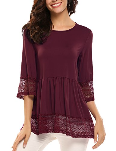 Zeagoo Womens Casual 3 4 Sleeve Loose Fitting Blouse Cute Lace Babydoll Tops T Shirts (X-Large, Wine Red/Claret)