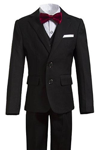 Gele Boys 5 Pieces Formal Suits,Slim Fit Tuxedo Set (12, Black Two Buttons) ()