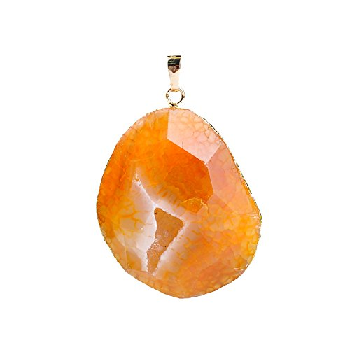 Rui Long Quartz Crystal Oval Faceted Crack Pendant Natural Stone Agate Blue for Jewelry Making (Yellow) ()