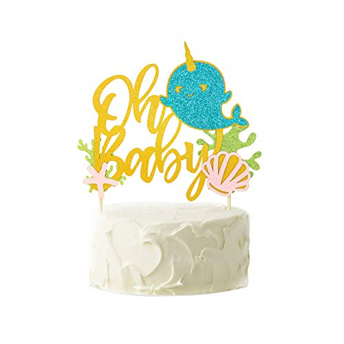 1pc Oh Baby Narwhal Cake Topper Gold Glitter Starfish Seashell Under the Sea Birthday Party Baby Shower Decoration Easy Joy (Narwhal Baby Shower)