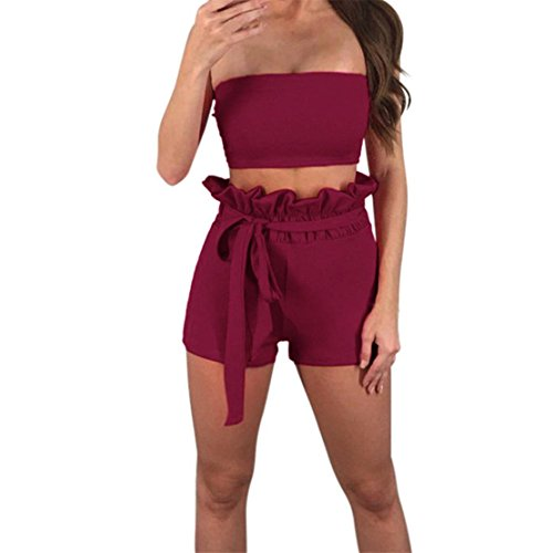 DongDong Sexy Women Off The Shoulder Sleeveless Vest Blouse + Shorts Two-Piece Outfit