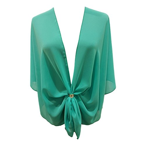 eXcaped Women's Evening Shawl Wrap Sheer Chiffon Open Front Cape and Rose Gold Scarf Ring (Jade)