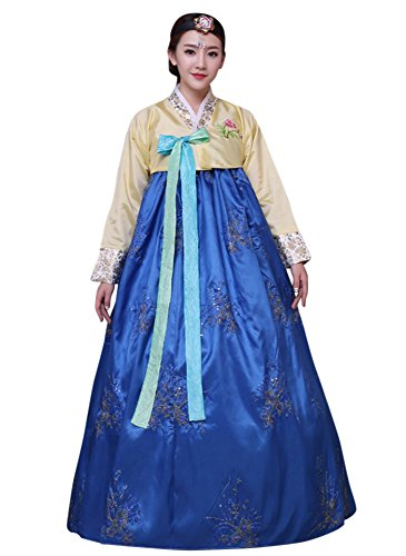 CRB Fashion Womens Korean Traditional Hanbok Top Dress Costume with Headpiece Set Outfit (Large, Blue) - East Halloween Costume Ideas
