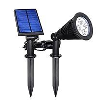Lightess Solar Lights 4 LED Landscape Spotlight Wall In-ground Spot Light for Garden Outdoor
