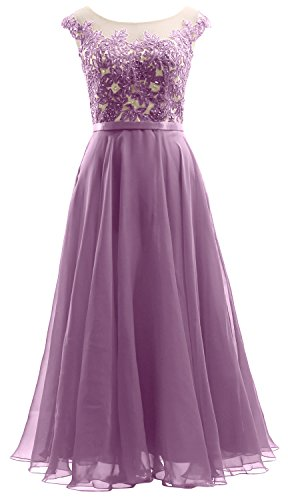 MACloth Cap Sleeves Illusion Midi Prom Dress Lace Chiffon Wedding Party Dress Wisteria