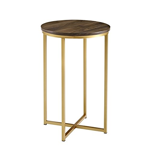 Side End Wood Table - WE Furniture AZF16ALSTDWG Wood Side Table, Dark Walnut/Gold