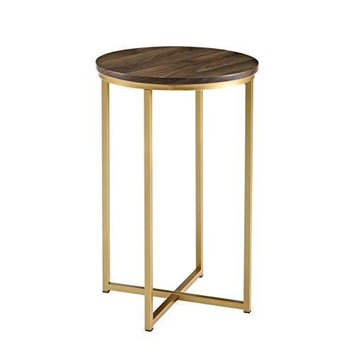 Table Walnut Glass End (WE Furniture AZF16ALSTDWG Wood Side Table, Dark Walnut/Gold)