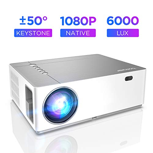 Projector, Bomaker Native 1080P Full HD Video Projector, 6000 Lux, 9000:1 Contrast Ratio, ±50° Keystone Correction, 50% X&Y Zoom, 300″ Display, Ideal for Home & Business, Compatible with HDMI,VGA,USB