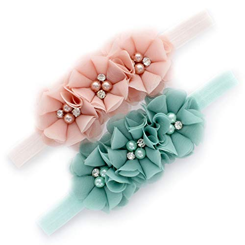 My Lello Baby Flower Headbands Fabric Beaded Trio Stretchy Elastic Pair (Pink Blush/Mineral - Baby Vintage Headbands