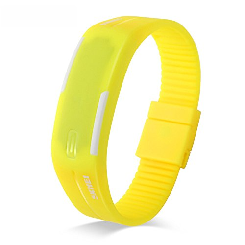 Yellow Bracelet Jelly (SKMEI Fashion Korean Trend LED Waterproof Bracelet Children Students Couple Jelly Electronic Watches(6 Styles)(Yellow))