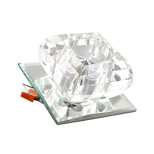 Mingruie Mini Modern Crystal Chandelier Square Ceiling Lamp For Bedroom Bathroom Dining Room 4x4 Inch 20W