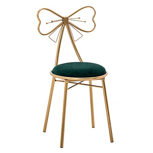 HM&DX Make- Stool Chair Bow Knot Back, Dining Chair Suede Padded Cushion Metal Frame Foot Stool Bar Chair for Coffee Table-Green A