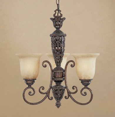 Three Light Umber Burnt (Designers Fountain 97583-BU Amherst 3 Light Chandelier, 19.25