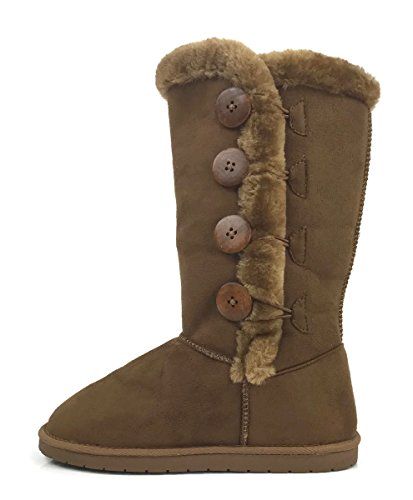 Lined Fur Faux Boots - Womens Trish Soft Fur Lined Warm Winter Boot Mid Calf Faux Suede Girls, Tan Tall, 7