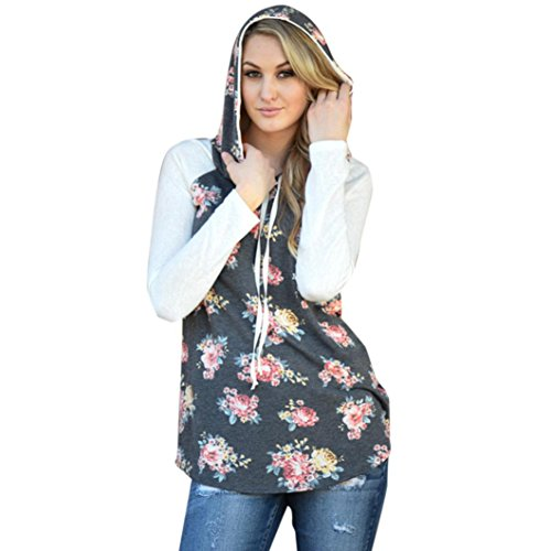 Brown Custom Hooded Sweatshirt (YANG-YI Womens Floral Printing Loose Sweatshirt Hooded Pullover Blouse T-Shirt (XL, Gray))