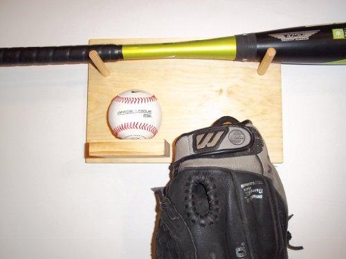 Full Size Baseball Bat Ball Glove Combination Rack Display Case Natural Finish Wall Mount Holder