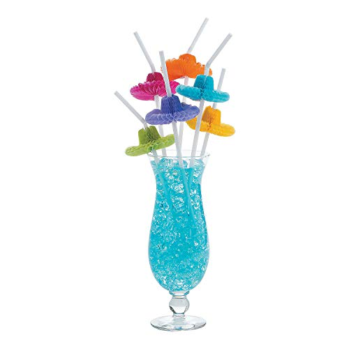 Fun Express - Sombrero Tissue Straws for Cinco de Mayo - Party Supplies - Drinkware - Straws - Cinco de Mayo - 12 Pieces