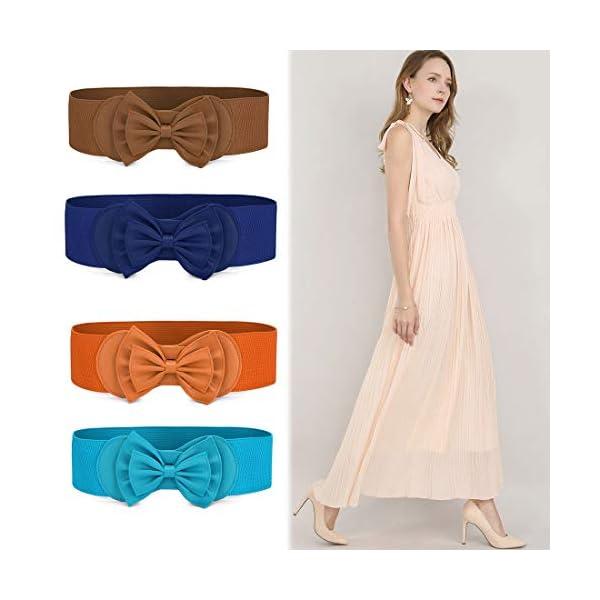 Allegra K Women Bowtie Ornament Press Stud Button Elastic Waist Cinch Belt
