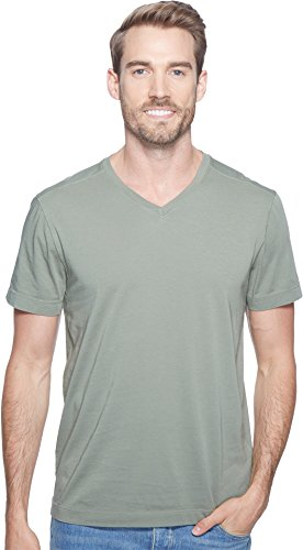 Agave Denim  Men's Agave Supima Vee Neck Short Sleeve Tee Deep Lichen Green ()