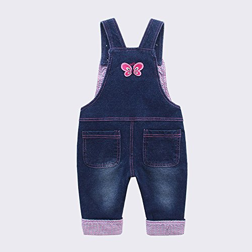 Kidscool Baby Girls Casual Soft Denim Overalls Rabbit,12-18 Months