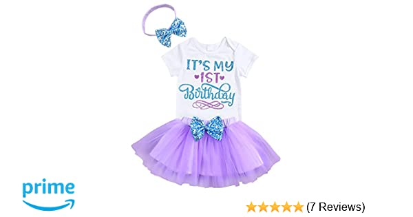 962d9d7e4716 Amazon.com  Newborn Baby Girls It s My 1st Birthday Infant Outfits ...