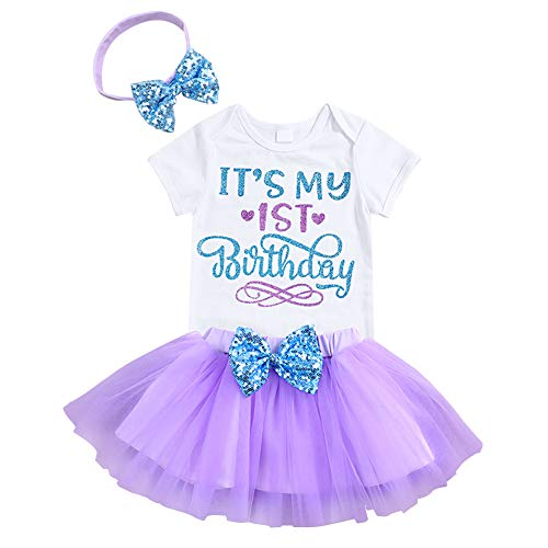 Newborn Baby Girls It's My 1st Birthday Infant Outfits Romper Shiny Printed Sequin Bowknot Tutu Skirt Dress Purple (12months)