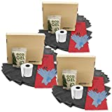 Emergency Zone Potty Box Complete Toilet Set, Portable, Collapsible Toilet with Liners and Toilet Chemicals. 3 Pack