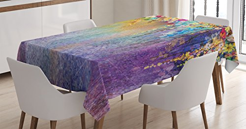 Ambesonne Watercolor Flower Home Decor Tablecloth, Abstract Herbs Weeds Blossoms Ivy Back with Florets Shrubs Design, Dining Room Kitchen Rectangular Table Cover, 60 W X 90 L Inches, Blue Purple