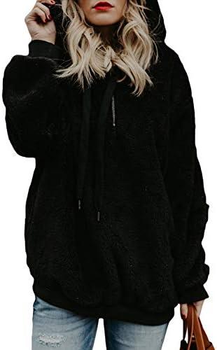 Aleumdr Womens Oversized Warm Fuzzy Hoodies Cozy Loose 1/4 Zipper Pullover Hooded Sweatshirt Outwear with Pockets