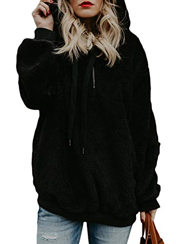 44c90245c9 Elapsy Womens Fuzzy Casual Loose Oversized Zip Pullover Warm Pocket Style  Sweatshirt Hooded Outwear for Juniors