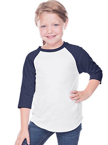 Kavio! Toddlers Jersey Contrast Raglan 3/4 Sleeve White/Navy 3T