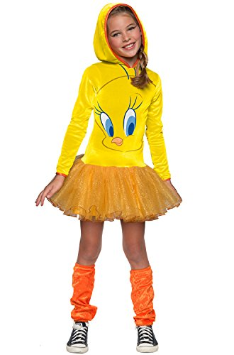 Tweety Bird Child Costumes (Looney Tunes Tweety Bird Girls Hooded Costume, Child's Small)