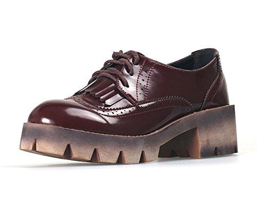 bocca profonda singoli pattini delle donne calza crosta spessa Ms. primavera e autunno scarpe con cintura di cuoio signora Dipartimento , US8 / EU39 / UK6 / CN39