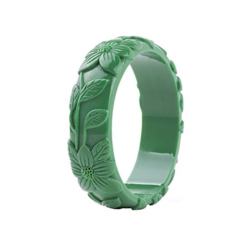 Flamingogogo Vintage Resin Cuff Engraved Flowers Fashion Bracelets Bangles for Women Acrylic Bracelet Girls Simple Charm Party Jewelry,Green