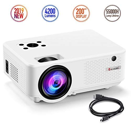 Nyork Mini Projector, [2019 Upgraded] Portable Video Projector, 4200 Lumen Movie Projector 200″ Display, Full HD 1080P Supported, 55,000 Hours Lamp Life, Compatible with Fire TV Stick,HDMI,VGA,AV,USB